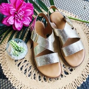 Franco Sarto Metallic Gold Sandals Size 8